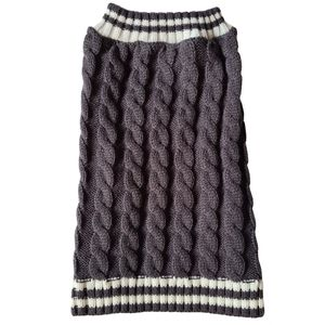 Dog Coat Cable Knit Grey White Pet Accessories